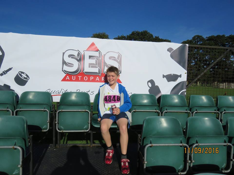 Riley takes a well earned rest after picking up his first medal